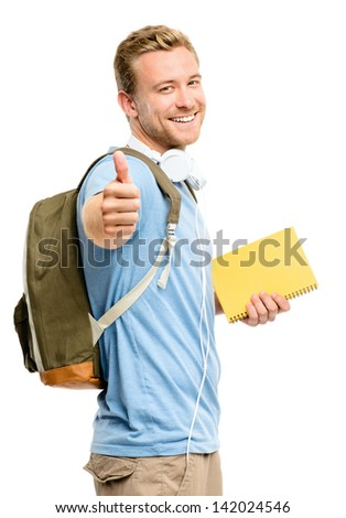 Confident young student back to school on white background - stock photo