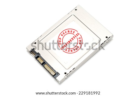 Confidential and top secret information on Solid State Disk concept - stock photo