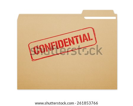 Confidential brown folder file with paper showing with a lot of copy space. Isolated on a white background with clipping path. - stock photo