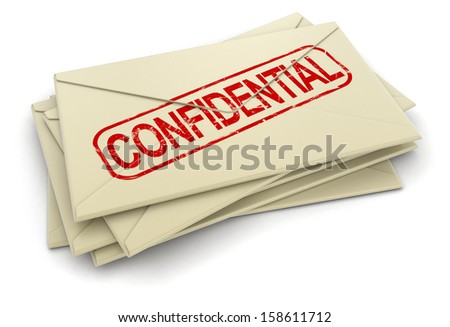 Confidential letters  (clipping path included) - stock photo