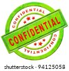 confidential secret or private personal information stamp or icon in red text on green isolated on white espionage spy info - stock photo