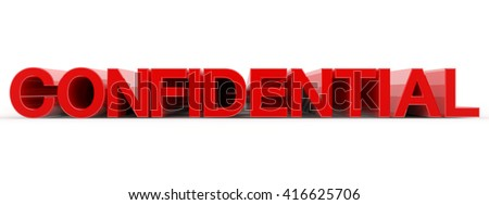 CONFIDENTIAL word on white background illustration 3D rendering - stock photo