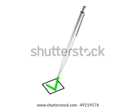 Confirm check mark and steel pen isolated on white background. High quality 3d render. - stock photo