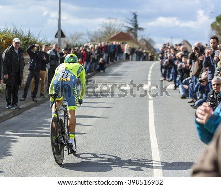 CONFLANS-SAINTE-HONORINE,FRANCE- MARCH 6:The Polish cyclist Rafal Majka of Tinkoff Team riding during the prologue stage of Paris-Nice in Conflans-Sainte-Honorine,on March 6 2016.