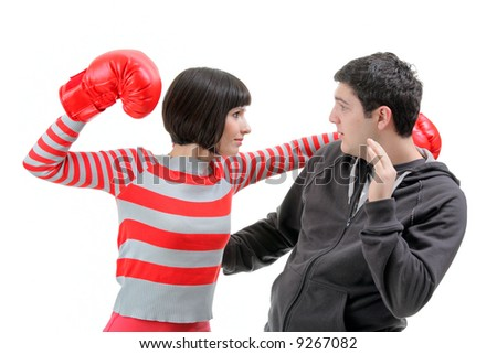 Conflict - Fight isolated against white background - stock photo