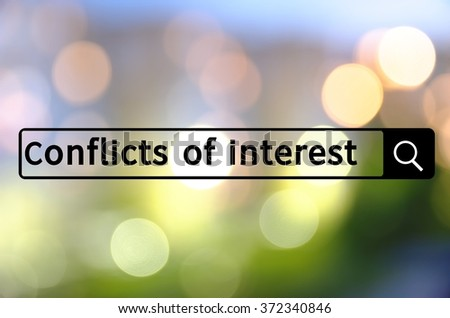 Conflict of interest written in search bar with the blurred lights visible in the background. - stock photo