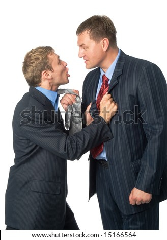 Conflict of two businessmen. Isolated on white background - stock photo