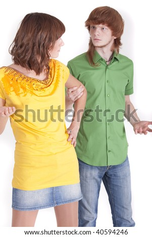 conflict situation between man and woman on a white background