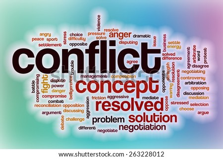Conflict word cloud concept with abstract background - stock photo