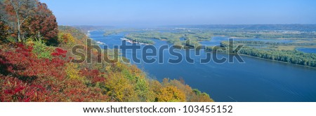 Confluence of Mississippi and Wisconsin Rivers, Iowa - stock photo