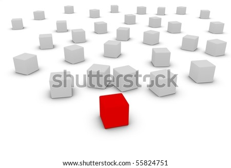 conformity versus individuality, red block in front - stock photo