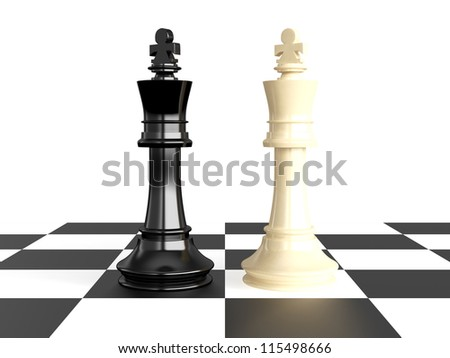 Confrontation of chess pieces kings on board, isolated on white background. - stock photo