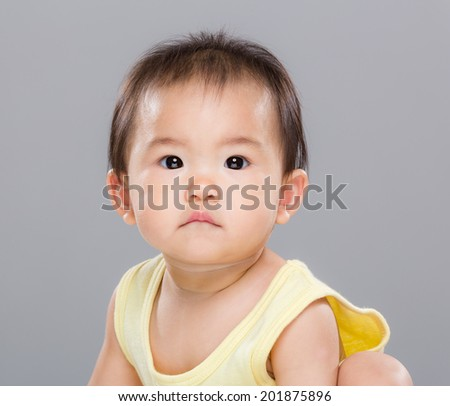 Confuse baby girl - stock photo
