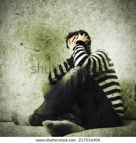 confused alone man - stock photo