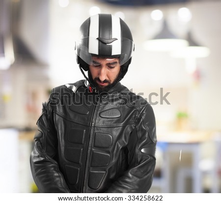 confused biker concentrated
