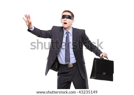 Confused blindfold businessman with briefcase isolated on white background - stock photo