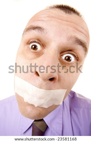 Confused businessman with taped mouth isolated on white - stock photo