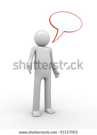 confused comix-styled speaking man with a copyspaced baloon to white a text - stock photo