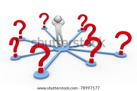 Confused 3d man in the middle of question marks