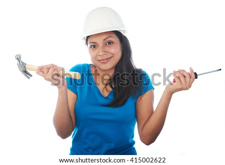 confused latino young girl with tools isolated on white