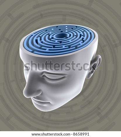 Confused Mind. The labyrinth inside the head. Concept of problem, fear, lost, solution, idea, etc.