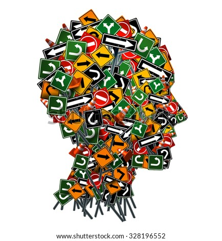 Confused thinking and uncertainty symbol as a group of traffic or road arrow signs shaped as a human head as a decision making crisis  or being lost in confusion concept on a white background. - stock photo