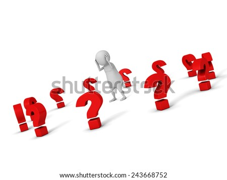 confused white 3d man with many red question marks around. problems concept 3d render illustration - stock photo