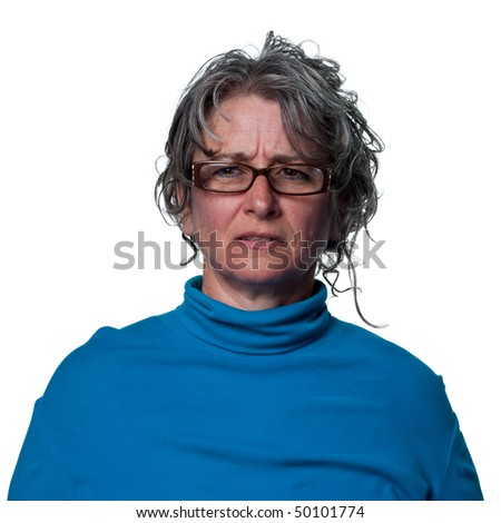 Confused woman thinking hard about a problem - stock photo