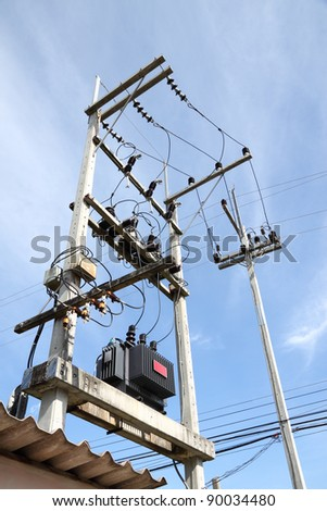 Confusion of connection of electric pole junction. - stock photo