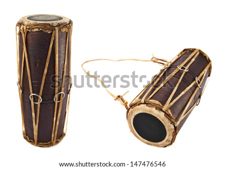 Conga percussion drum instrument isolated over white background, set of two foreshortenings - stock photo