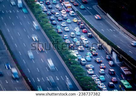 Congested city roads, Guangzhou, China - stock photo
