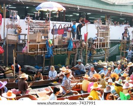 Congested Market, Bangkok - stock photo
