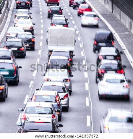 congestion on a higway - stock photo