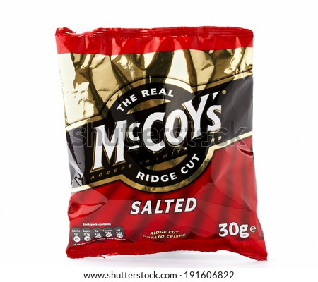 CONGLETON, UK - MAY 08 2014: Salted McCoy Ridge Cut Crisps, McCoy's are made by KP Snacks in the UK - stock photo