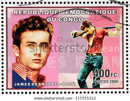 CONGO - CIRCA 2006: A postage stamp printed by CONGO shows image portrait of famous American actor James Dean, circa 2006 - stock photo