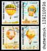 CONGO - CIRCA 1983: A set of postage stamps printed in CONGO shows Balloons and airships, series, circa 1983 - stock photo