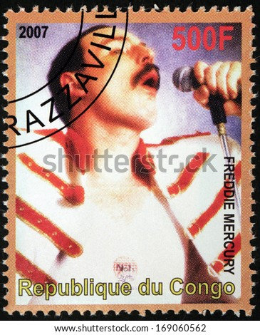 CONGO - CIRCA 2007: A stamp printed by CONGO shows portrait of English musician, singer and songwriter Freddie Mercury, best known as the lead vocalist and lyricist of the rock band Queen, circa 2007 - stock photo