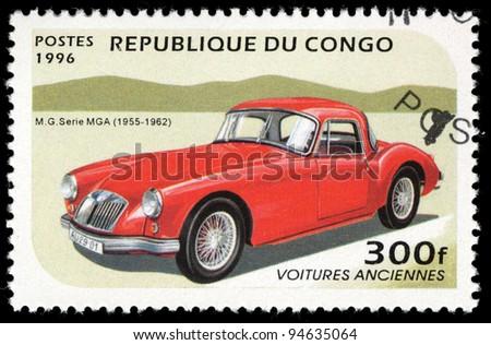 CONGO - CIRCA 1996: A stamp printed in Congo shows M.G. Serie MGA (1955-1962), circa 1996. - stock photo