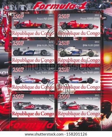 CONGO - CIRCA 2012: stamp printed by Congo, shows Ferrari, circa 2012 - stock photo