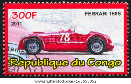 CONGO - CIRCA 2011: stamp printed by Congo, shows Ferrari, circa 2011 - stock photo