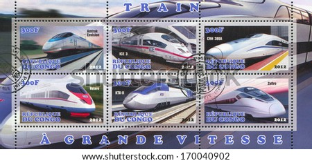 CONGO - CIRCA 2012: stamp printed by Congo, shows modern train, circa 2012 - stock photo