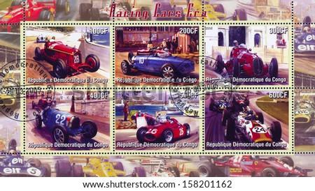 CONGO - CIRCA 2005: stamp printed by Congo, shows racing at Formula One, circa 2005 - stock photo
