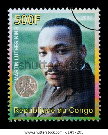 CONGO REPUBLIC - CIRCA 2008: A postage stamp printed in the Republic of Congo showing Martin Luther King, circa 2008 - stock photo