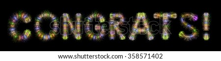 Congrats text written with Colorful Sparkling Fireworks over black sky / background