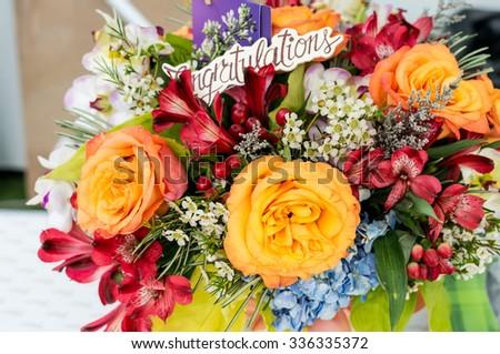 Congratulation  flower decorate / Orange rose / - stock photo