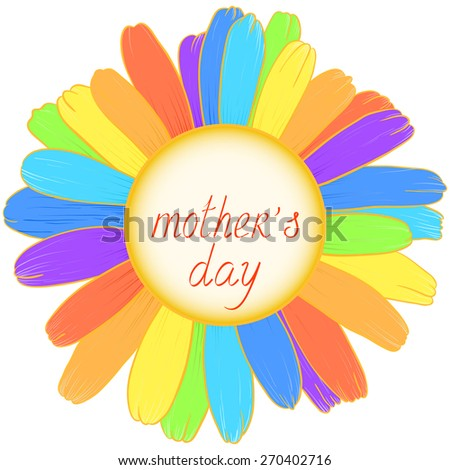 Congratulation on Mother's Day with rainbow daisy. Raster version. - stock photo