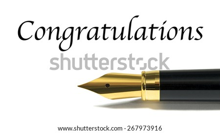Congratulations card with golden fountain pen  isolated on white - stock photo