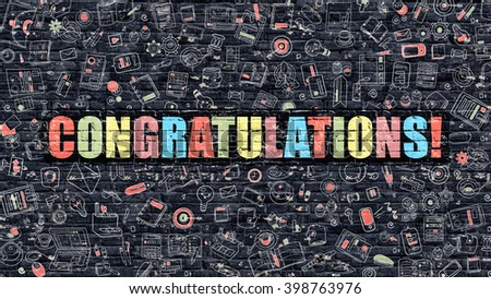 Congratulations Concept. Modern Illustration. Multicolor Congratulations Drawn on Dark Brick Wall. Doodle Icons. Doodle Style of Congratulations Concept. Congratulations on Wall. - stock photo
