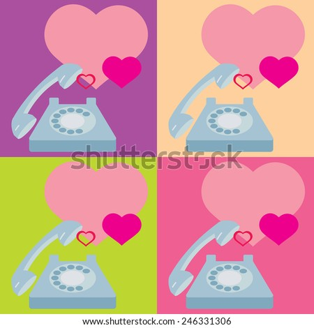 Congratulations on the phone. Valentine's Day. heart - stock photo