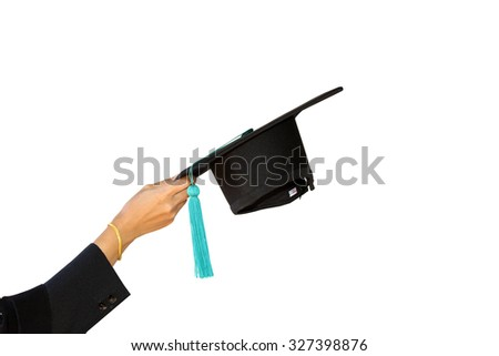 congratulations throwing graduation Students with hats isolated on white background - stock photo